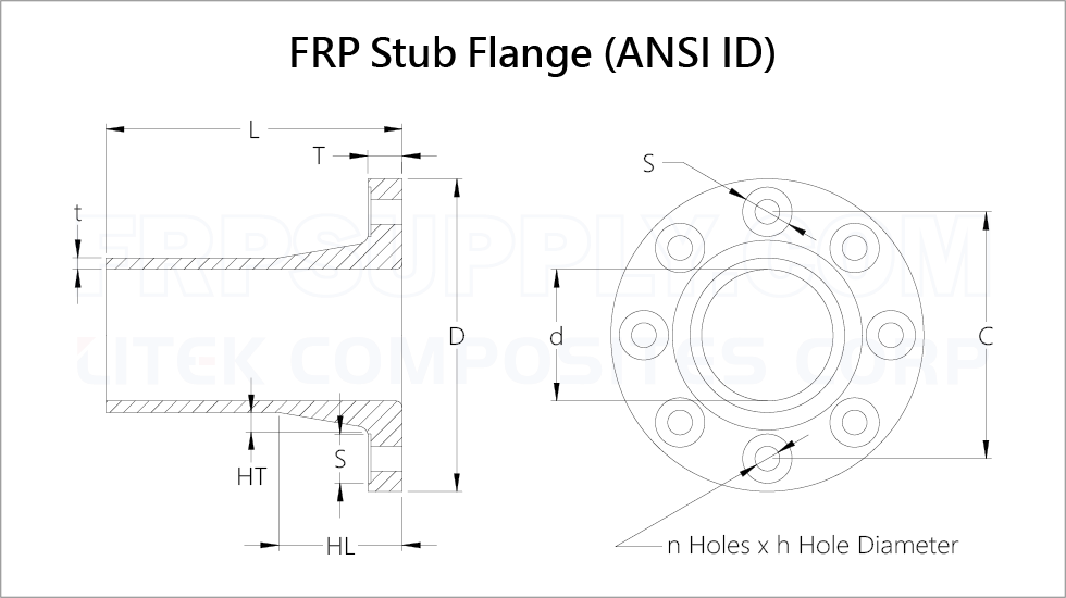 "1/2"" to 36""Stub flange specification."