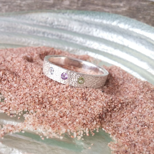 Family Ring in Sterling Silver, embossed with PEI sand.