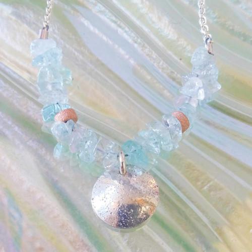 Aquamarine, rose gold filled and sterling silver necklace, embossed with P.E.I. sand.