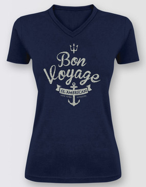 Anything Goes Ladies Navy V-Neck Glitter Tee