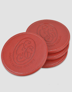 SCG Leather Coaster 4-Pack Red
