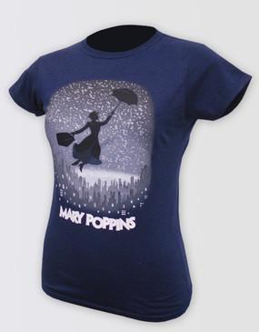Mary Poppins Logo Navy Tee - Ladies