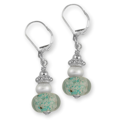 Delaware Beaches® Turquoise Sand Encased Earrings with Pearls