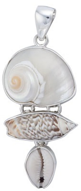 Sterling Silver Cinnerus, Olive & Cowry Shell Pendant