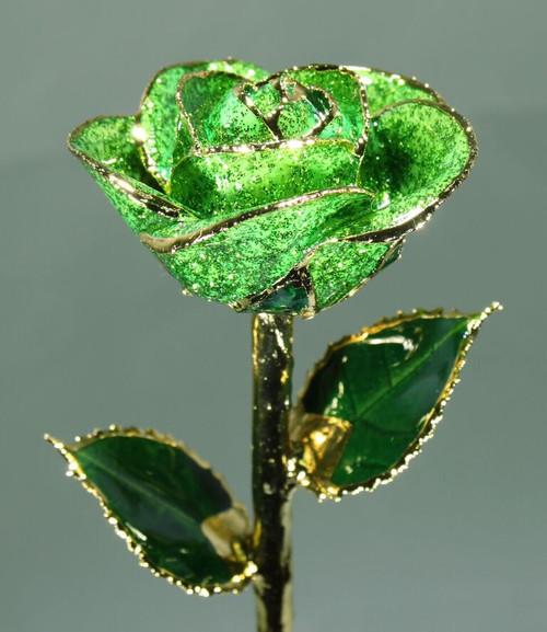 Green Sparkle Rose Trimmed in 24kt Gold LG