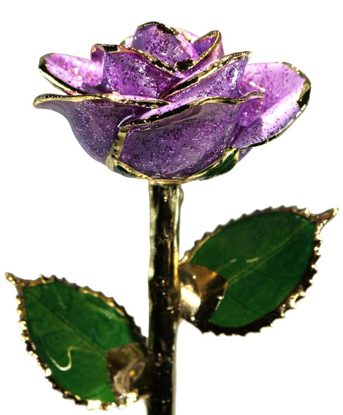 Lavender Sparkle Rose Trimmed in 24kt Gold