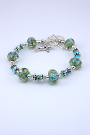 Floridian Memories Glass Six Bead Bracelet with Manatee Charm