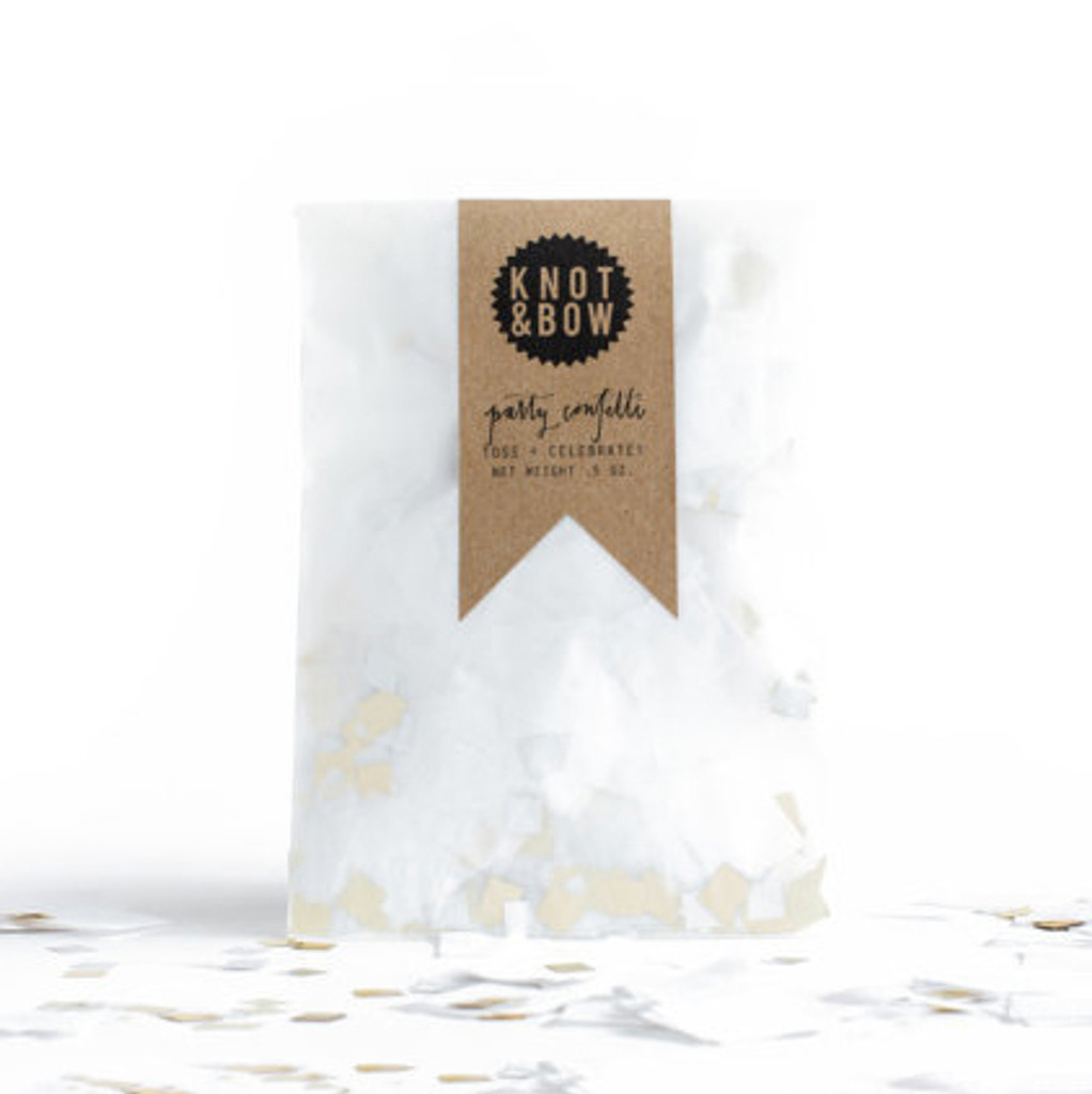 Party Confetti Bag, White Metallic