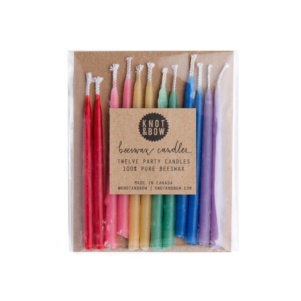 Beeswax Party Candles, Rainbow