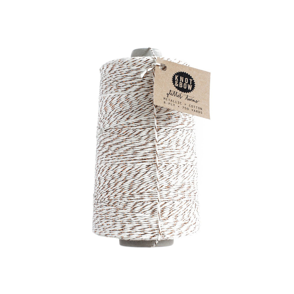 Jumbo Glitter Twine, Natural + Copper