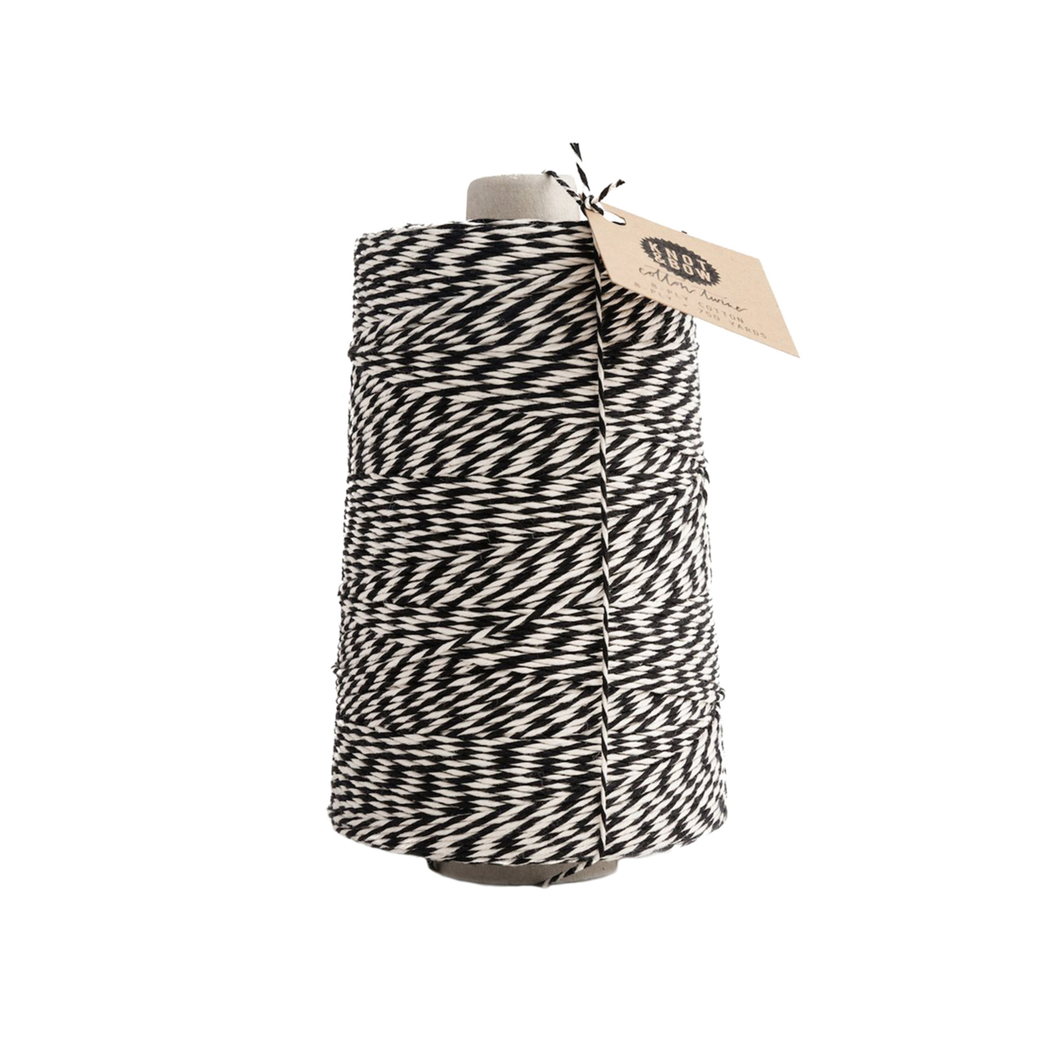 Jumbo Cotton Twine, Black + Natural