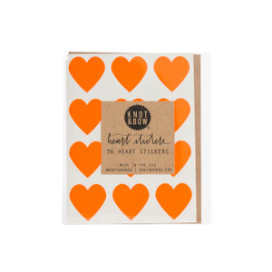 Heart Stickers, Neon Orange