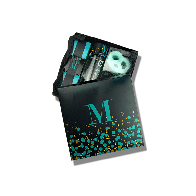 Confetti Design Black & Teal Monogrammed Welcome Box