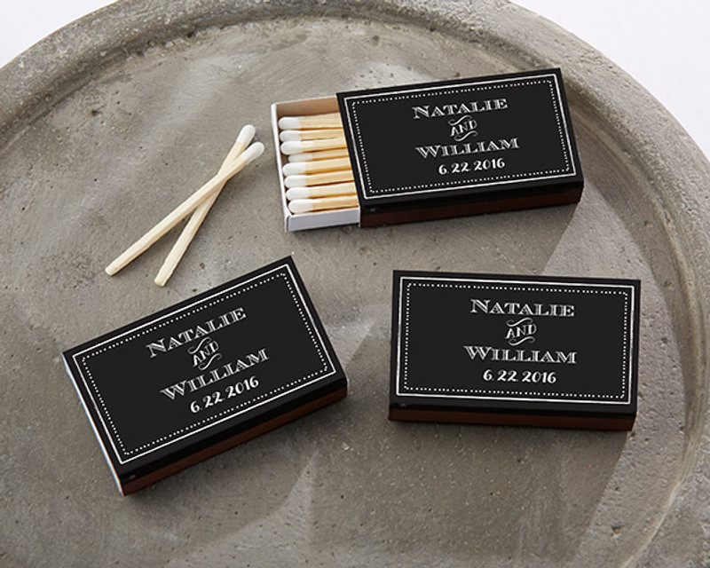Personalized Black Matchboxes - Chalk
