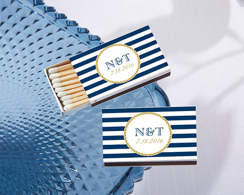 Personalized White Matchboxes - Nautical