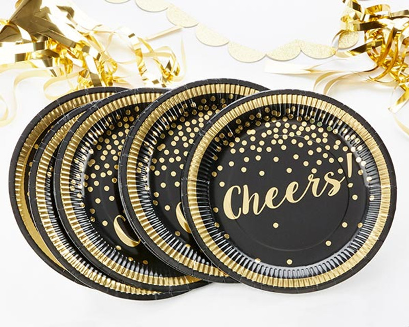 Gold Foil Cheers Paper Plates - Party Time (Set of 8)