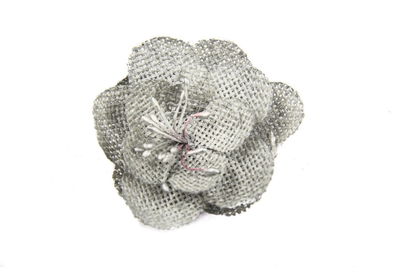 Grey Burlap Flower Blossom (Pack of 6)