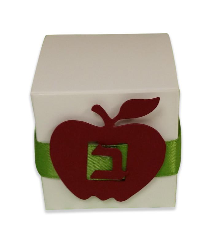 "Favor box with apple buckle and ribbon, 2x2"" (also available in 3x3"")"
