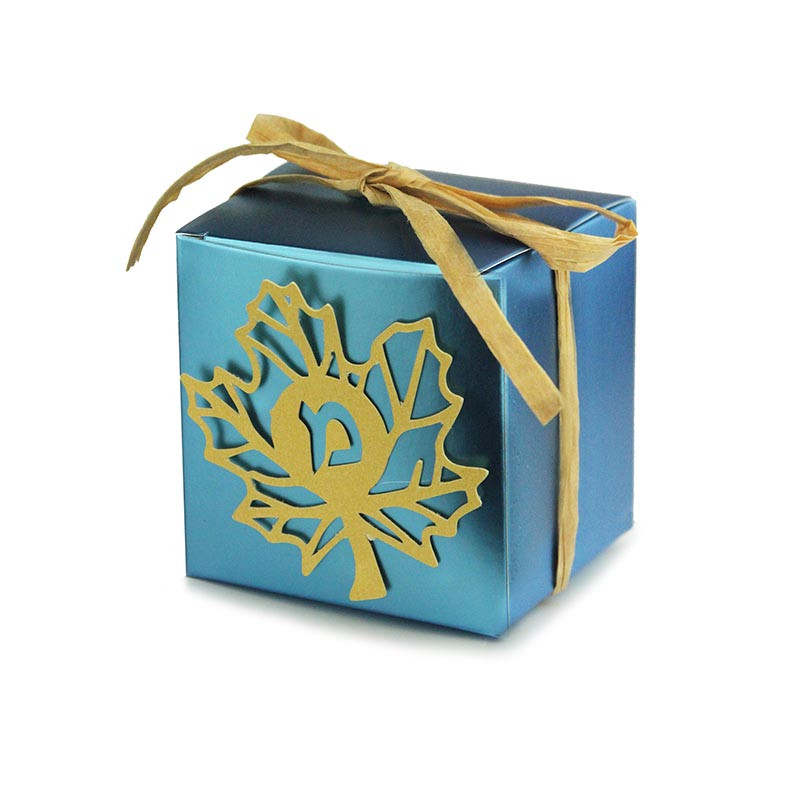 Metallic favor box with lasercut leaf and ribbon, 3x3