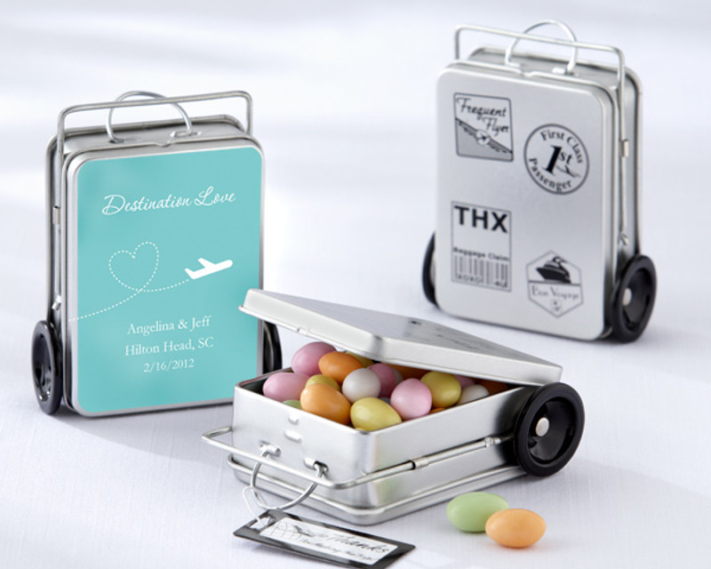 """""""MILES OF MEMORIES"""" SUITCASE FAVOR TINS (SET OF 12)with personalized label"""