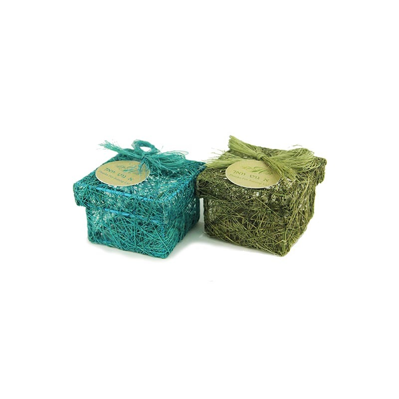Woven Besomim Holder with personalized tag, green or turquoise