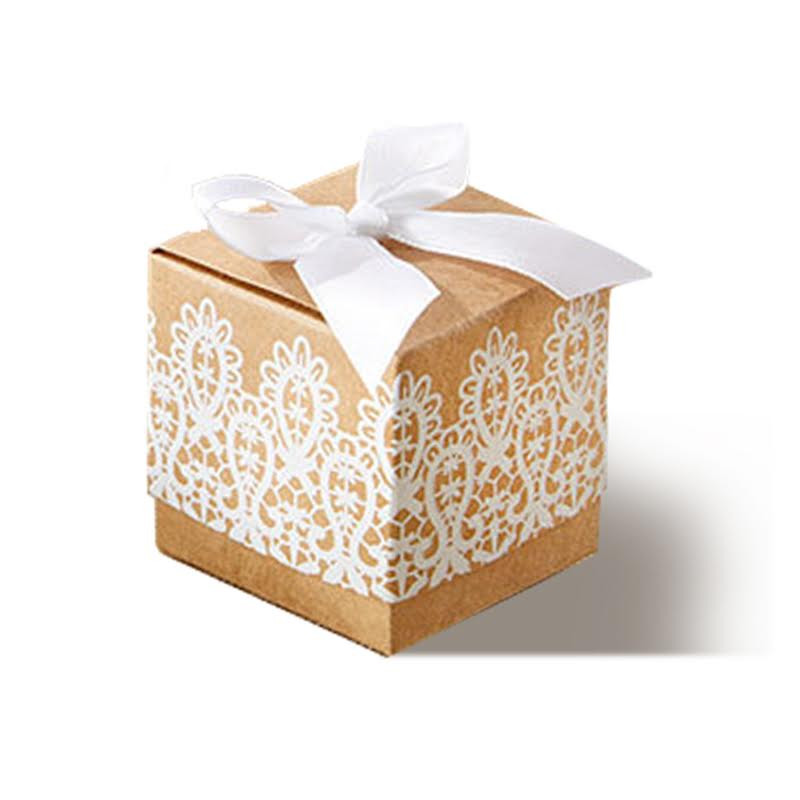 """Rustic & Lace"" Kraft Favor Box (Set of 24)"