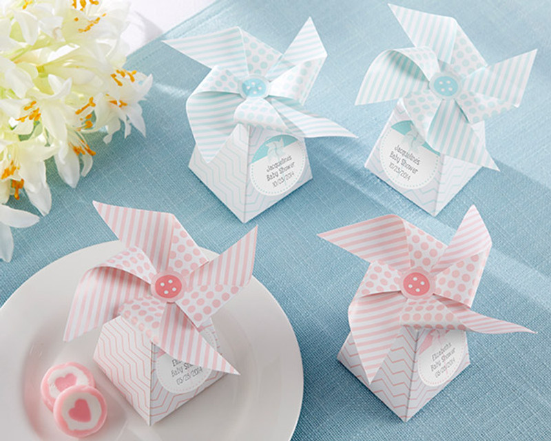 """Whimsical Moments"" Pinwheel Favor Box-Pink or Blue (Set of 24) (Available Personalized)"