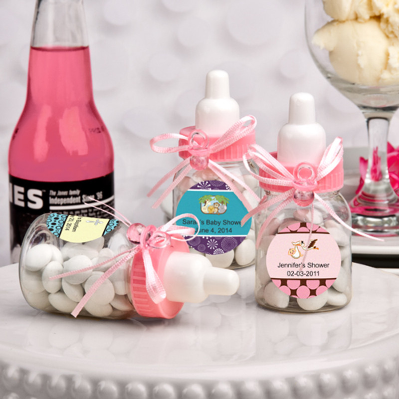 Design Your Own Collection Pink Baby Bottle Favors (See Description Below To Design Your Label)