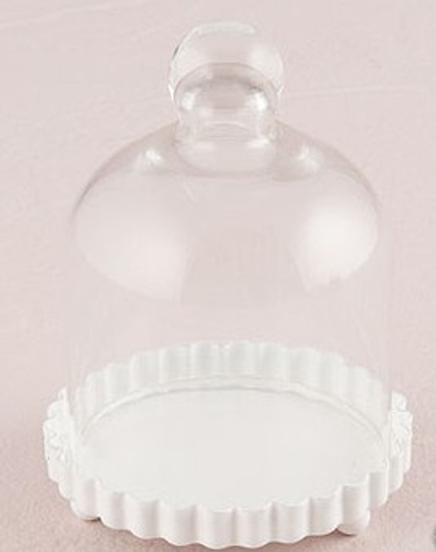 Miniature Glass Bell Jar With White Fluted Base