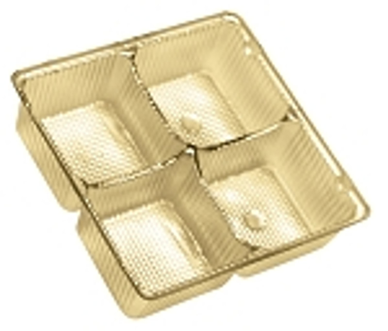 Gold Plastic Tray 4pc