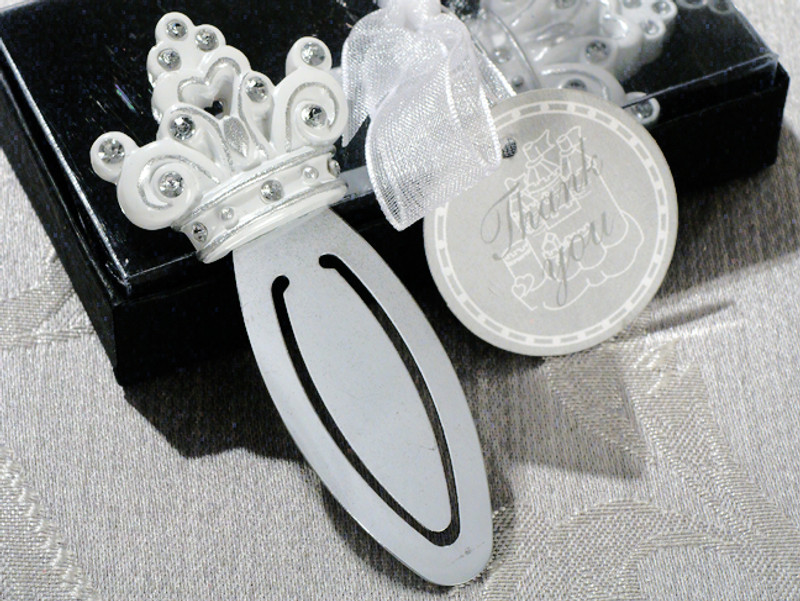 """Queen for a day"" Sparkling Tiara bookmark favor."