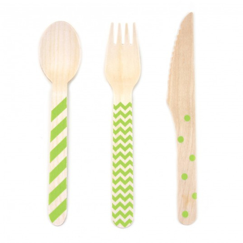 Stamped Wooden Cutlery Chevron/Striped/Polka Dot 18 pack