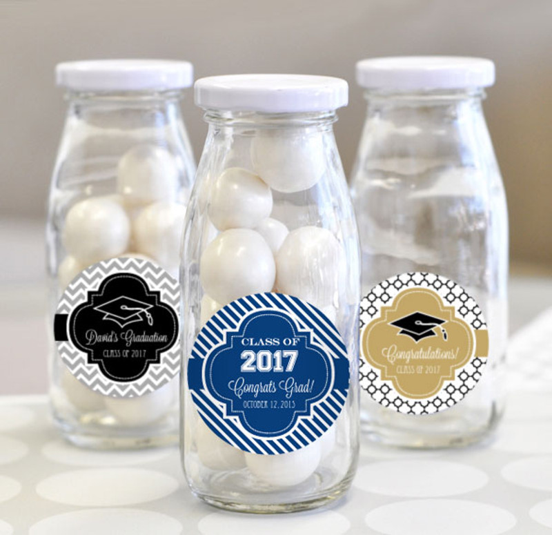 """""""Hats off to You"""" Personalized Graduation Milk Bottles"""
