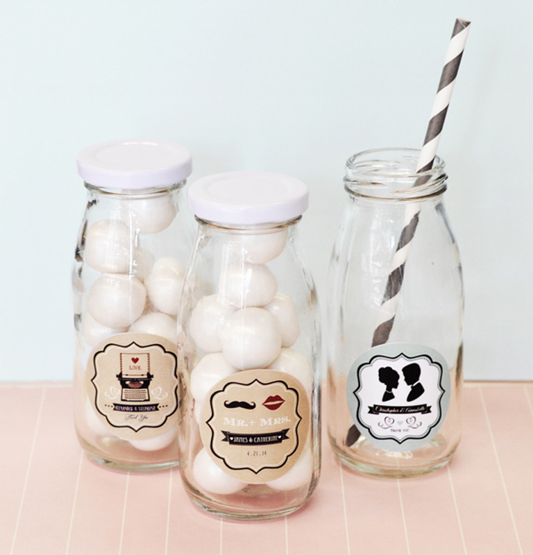 Vintage Wedding Personalized Milk Bottles
