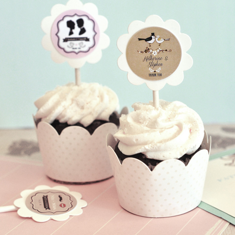 Vintage Wedding Cupcake Wrappers & Cupcake Toppers (Set of 24)