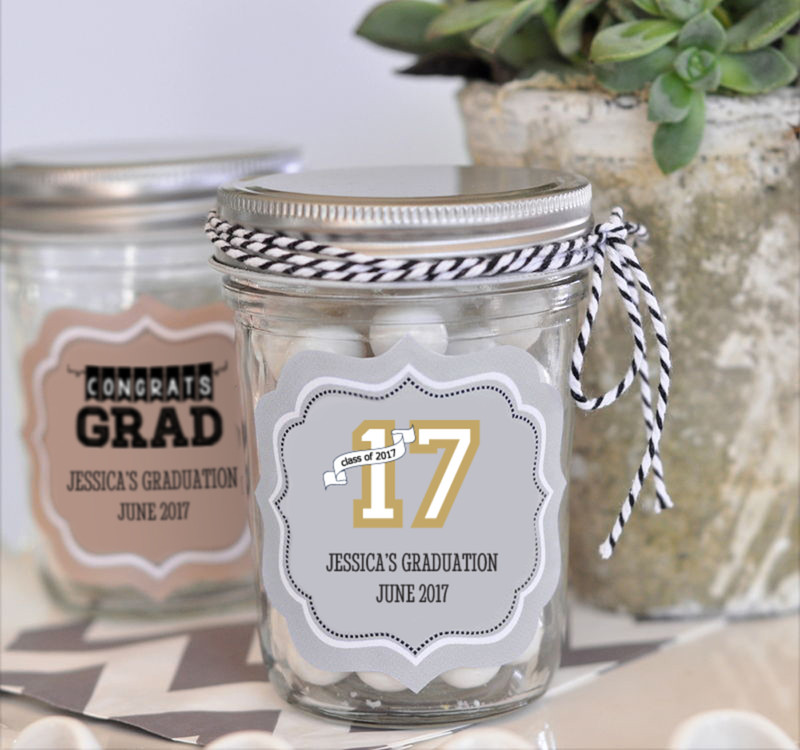 """Hats off to You"" Graduation Mini Mason Jars"