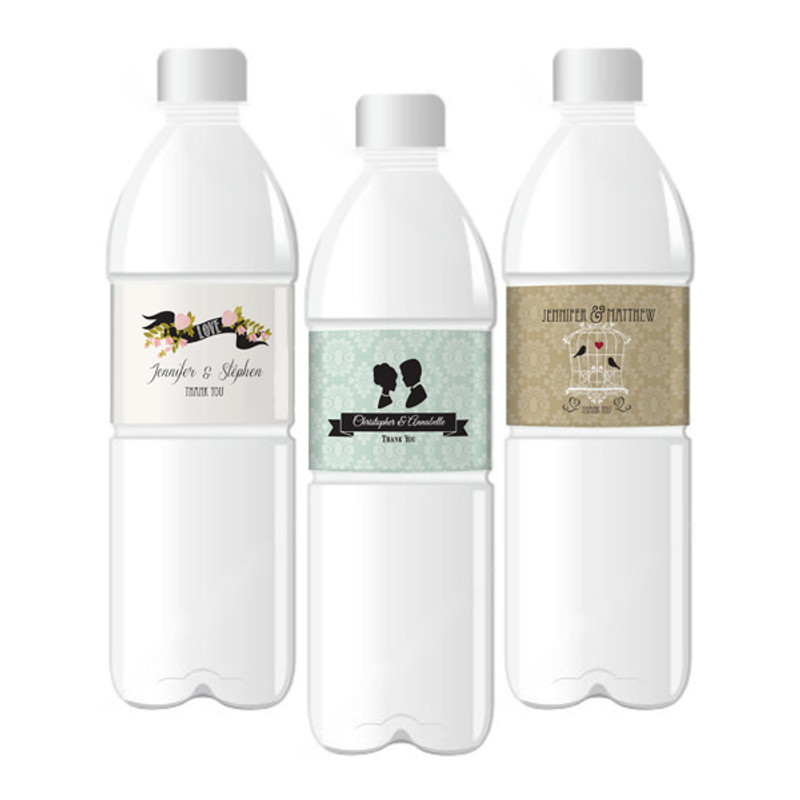 Vintage Wedding Personalized Water Bottle Labels