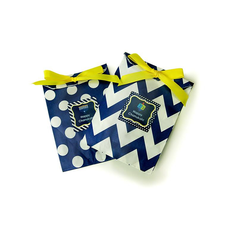 Personalized Chevron & Dots Chanukah Goodie Bags