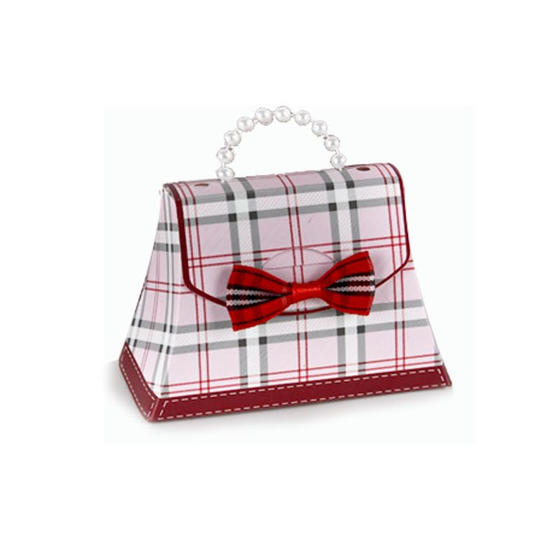 Plaid Mini Purses with Bow Ties - Pink (NEW!) Sold In Sets of 30