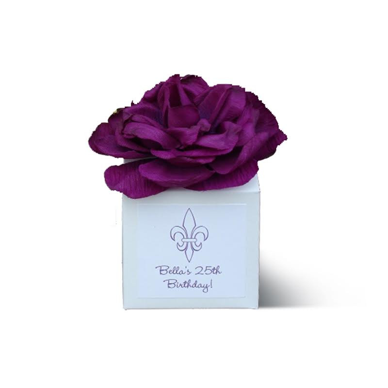 Ivory Flower Top Favor Box