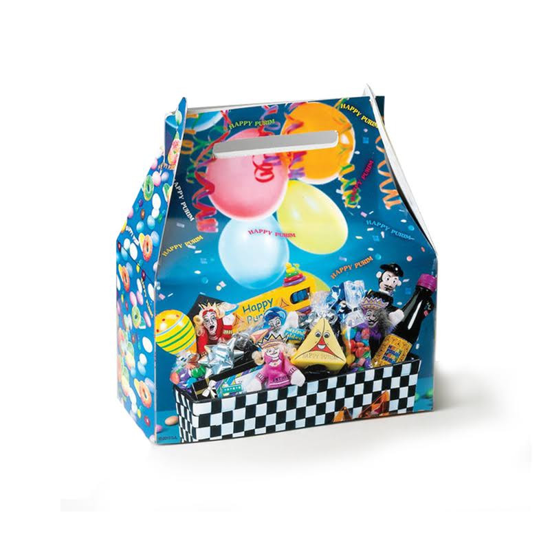 Small Happy Purim Gift Box Blue