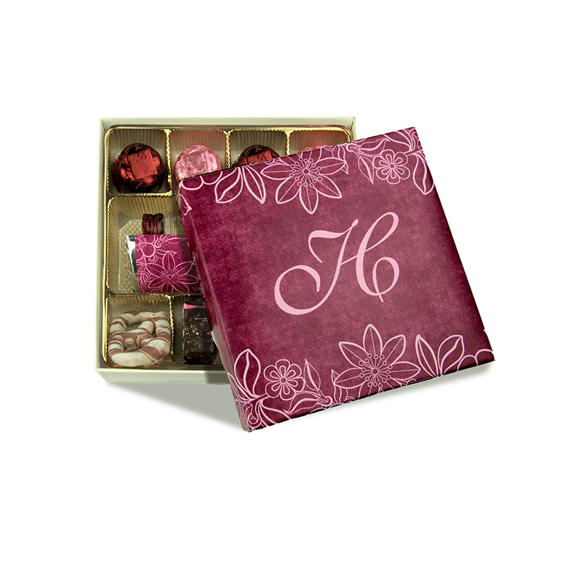 Pink Lace Design Monogrammed Purim Box 4 Sizes Available