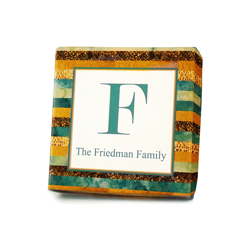 Gold & Teal Stripe Design Monogrammed Purim Box 4 Sizes Available