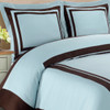 Hotel 100-Percent Cotton Duvet Cover Set image Blue/ Chocolate
