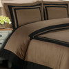 Hotel 100-Percent Cotton Duvet Cover Set image Taupe/ Black
