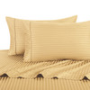 Gold Twin Extra Long Sheets 100% Cotton 500 Thread Count Damask Striped