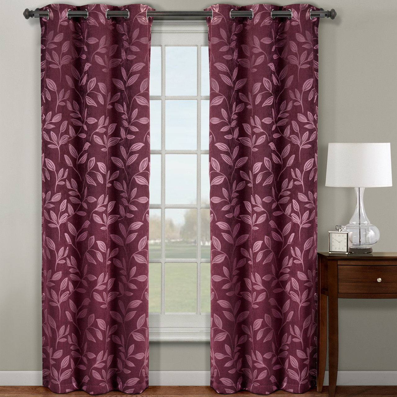 ... Claire Micro Suede Jacquard Blackout Weave Grommet Curtain Panels (Set  Of 2)  Burgundy ...