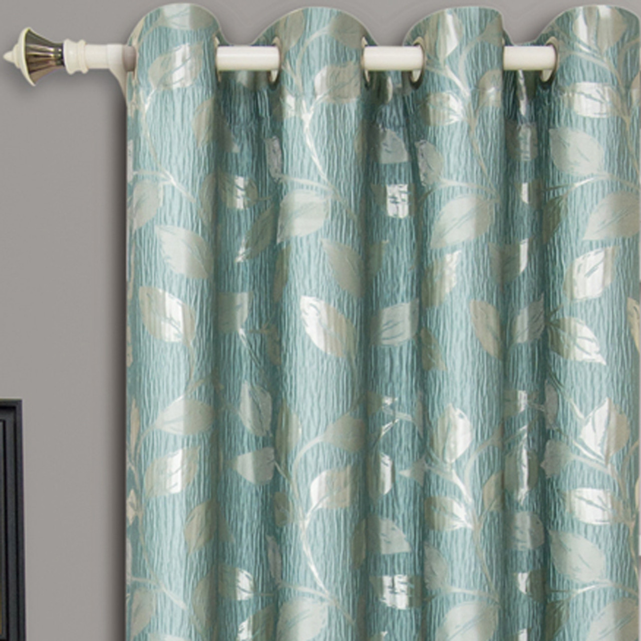 ... Charlotte Jacquard Drapes Grommet Window Curtain Panels (Pair)   Closeup Blue(Aqua ...