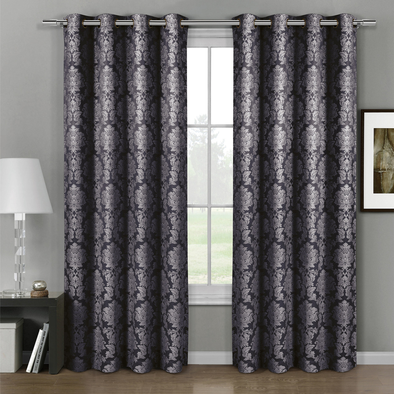 ... Aryanna Jacquard Floral Curtains With Top Grommets (Set Of 2)  Charcoal  ...
