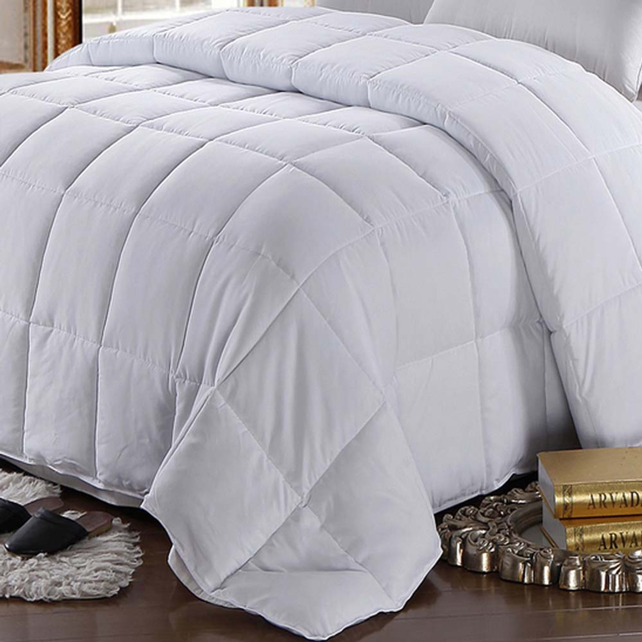 White Goose Feather-down Comforter 100% Cotton All Season Oversize : feather down quilt - Adamdwight.com